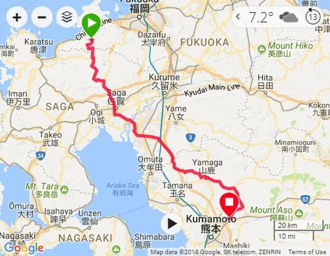 熊本までのルート