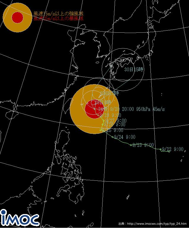 台風24号のルート
